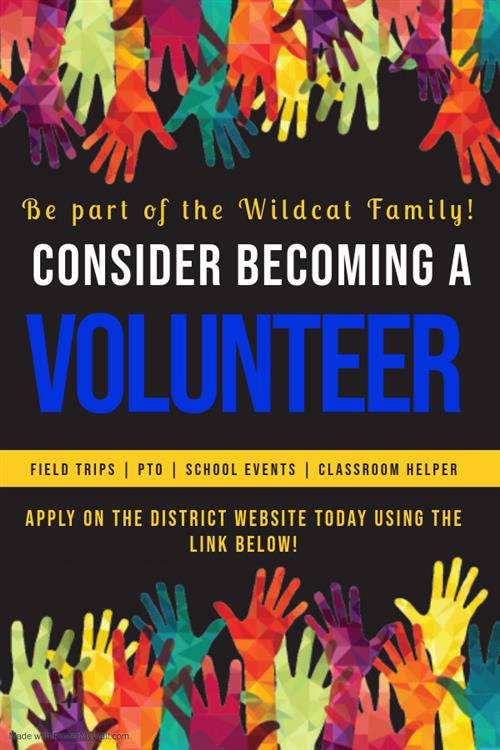 Flyer encouraging parents to become a volunteer and apply on the district webpage with link provided.