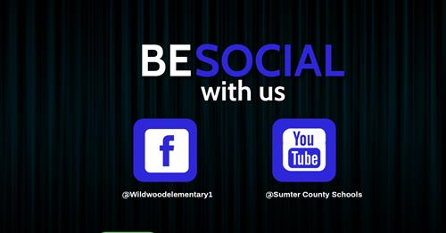 Social media image providing the school's facebook page and district's Youtube Channel.