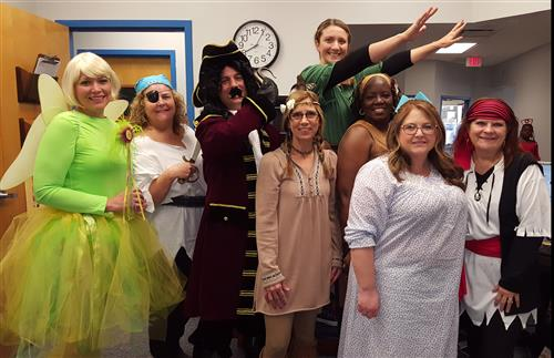 office dressed up as characters from Peter Pan