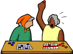 Illustration of two females playing chili