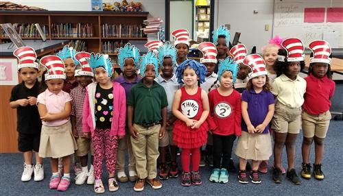 pre-k students celebrate Dr. Seuss day