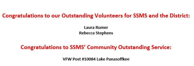 SSMS' Outstanding Volunteer Winners