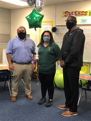 Mr. Velazquez, Ms. Ochoa,  and Principal Presley posing for a picture