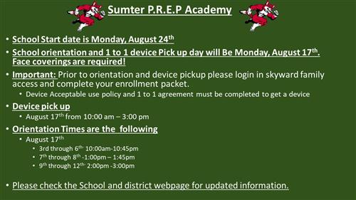 Flyer explaining school orientation information and tech days for information please call 352-568-1113