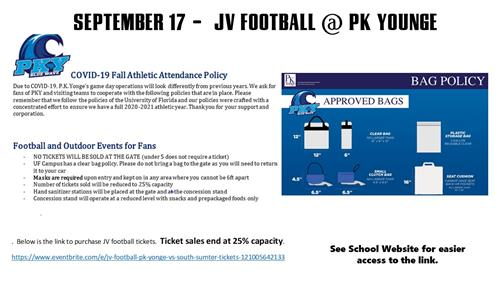 9/17 - JV FB @ PK Younge