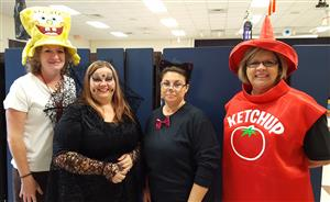 lunchroom staff in costumes