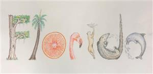 Drawing of the word Florida using Pieces of Florida's Natural Wildlife