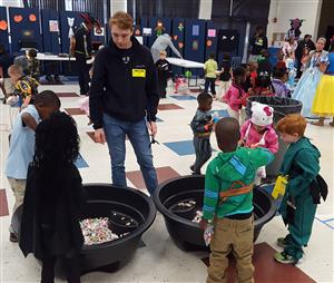 students playing carnival games