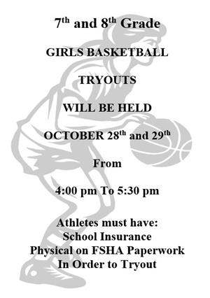 Information on Girls Basketball Tryouts