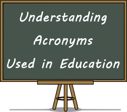 chalkboard with words about understanding Acronyms used in Education
