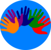 Volunteer Blue logo with colored hands